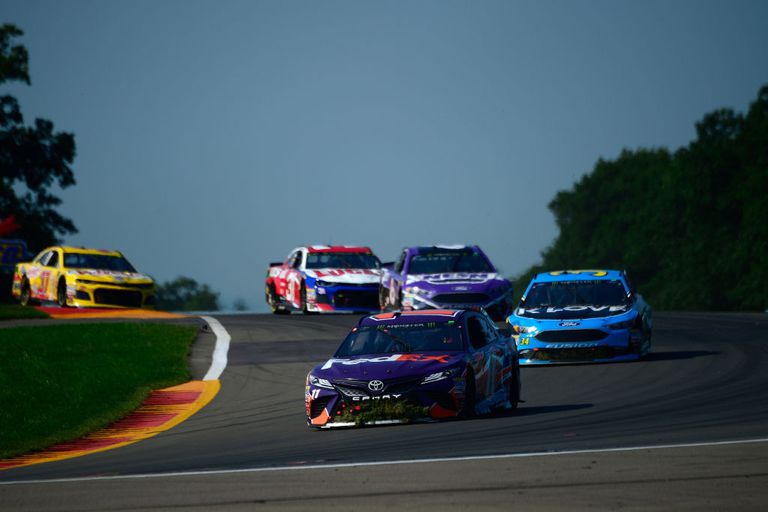 NASCAR stock cars racing at Watkins Glen road course