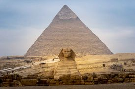 The Great Sphinx and the Great Pyramid.