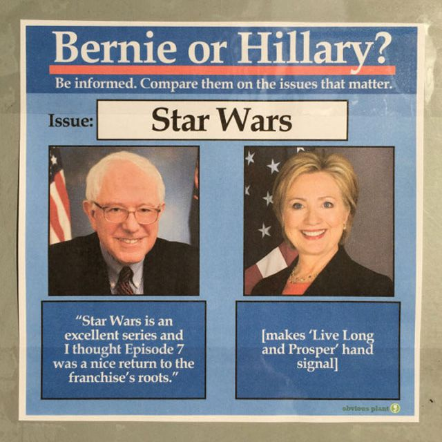 Bernie and Hillary on issue of Star Wars