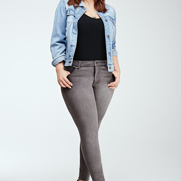 Forever 21 Plus Size Skinny Jeans in Grey