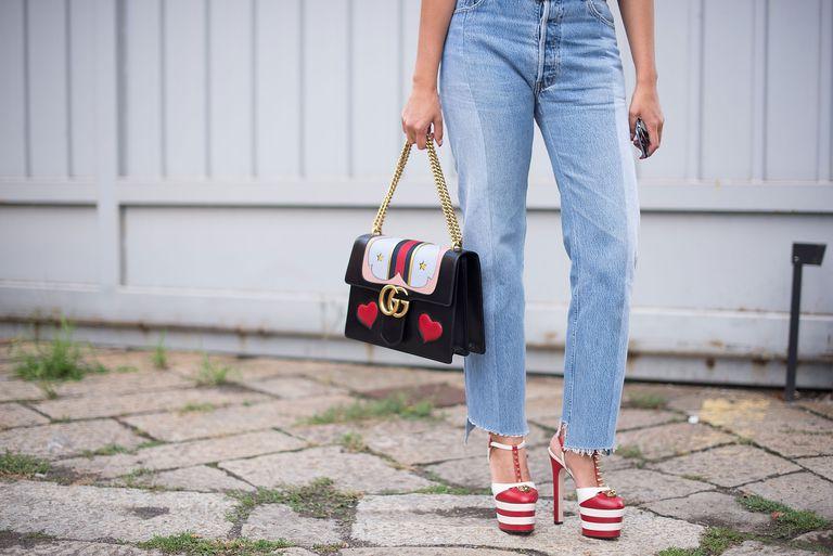 Street style denim culottes