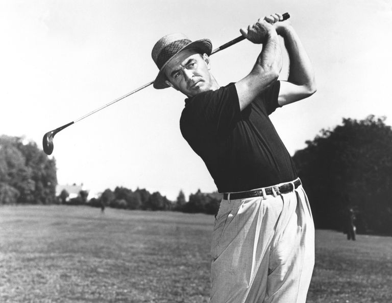 Sam Snead at the end of a golf swing, circa 1950