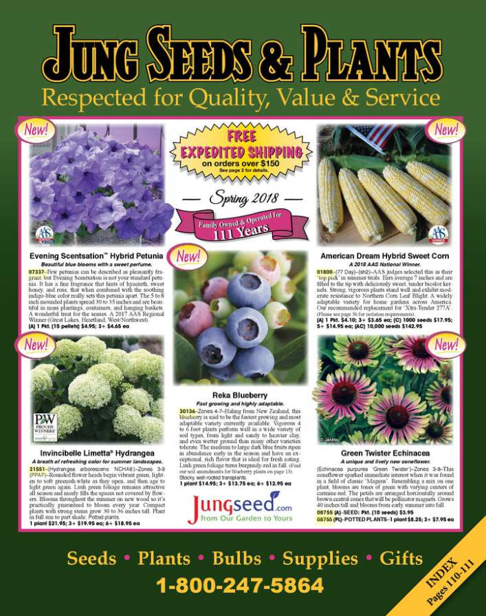 The cover of the 2018 Jung Seed & Plants catalog