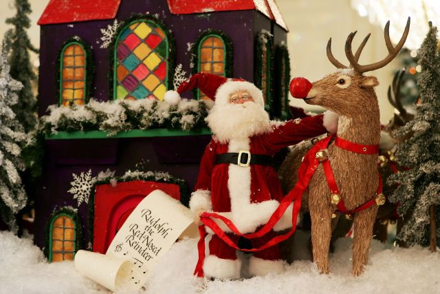 Figurines of Santa and Rudolph the Red-Nosed Reindeer