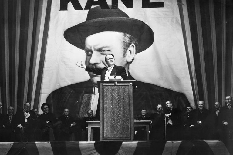 Orson Welles speaking to an audience as Charles Foster Kane in his 1941 film 'Citizen Kane'