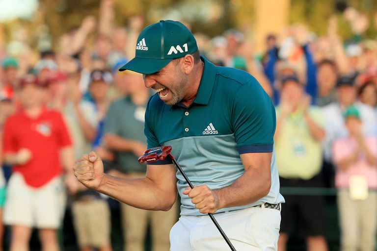 Sergio Garcia lets out a celebratory yell after winning the 2017 Masters