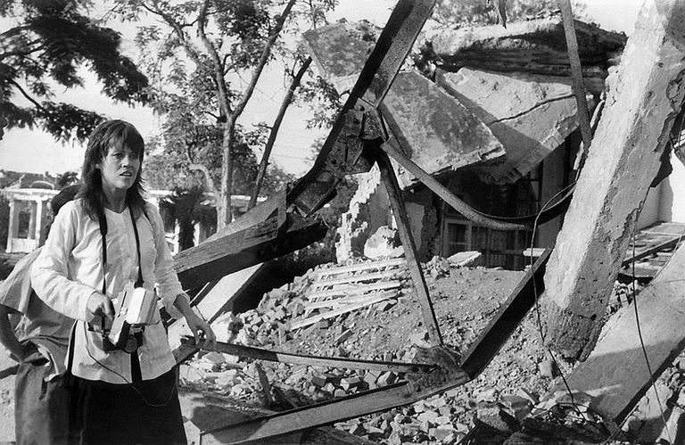 Blak and white photograph of Jane Fonda in Hanoi in 1972.