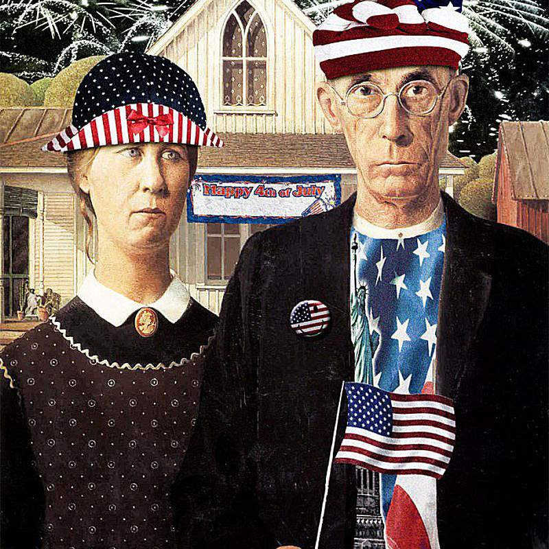 An altered image of the famous American Gothic painting