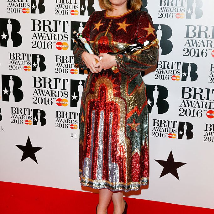 Adele poses in the winners room at the BRIT Awards 2016 at The O2 Arena on February 24, 2016 in London, England.