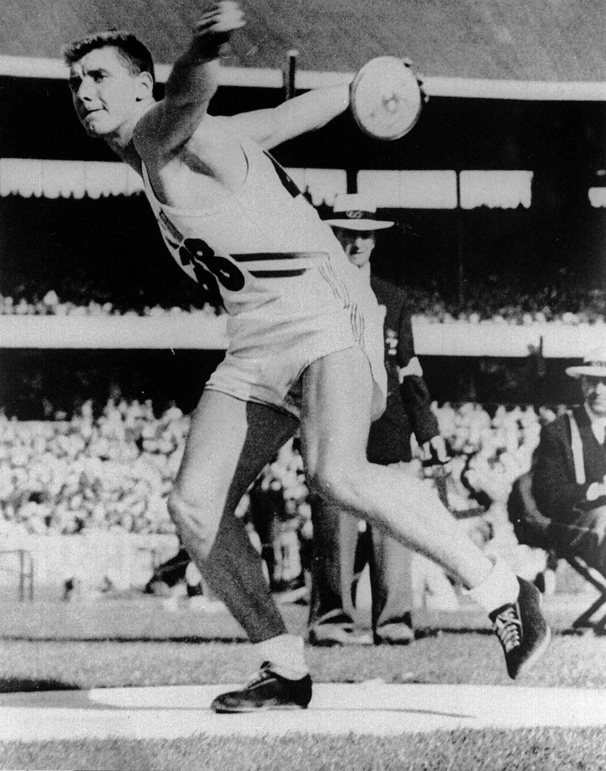 Al Oerter in action at the 1956 Olympics, where he won the first of four consecutive Olympic gold medals.