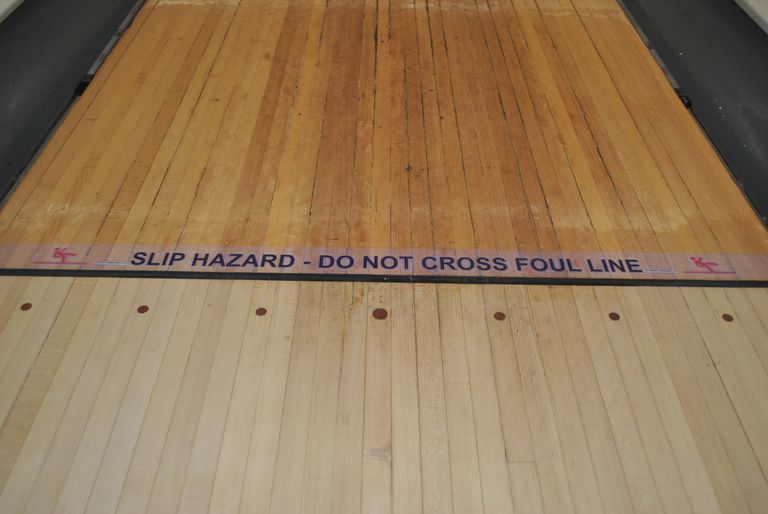 Foul line on a bowling alley