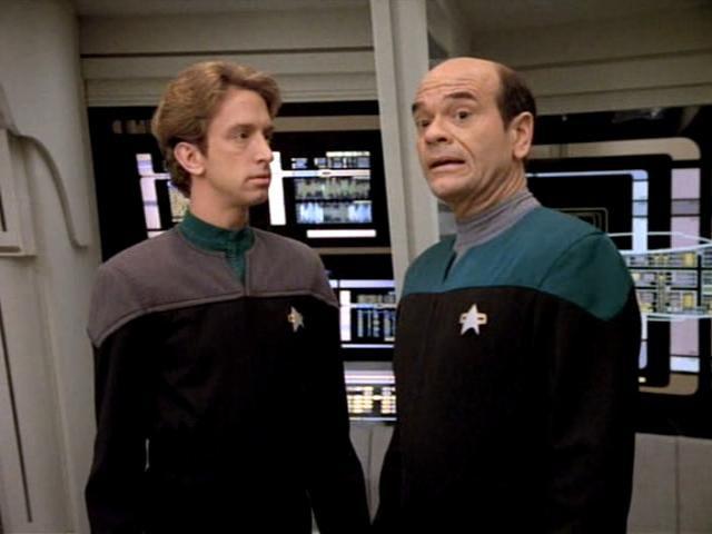 EMH (Robert Picardo) and EMH-2 (Andy Dick)
