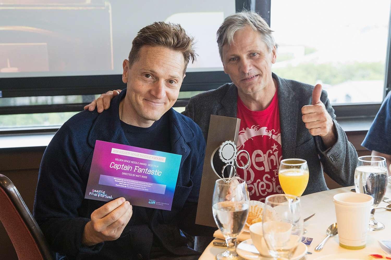 Director Matt Ross and actor Viggo Mortensen after receiving the Golden Space Needle for Captan Fantastic at the 2016 Seattle International Film Festival