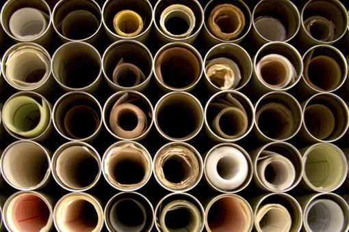 tubes of rolled plans, like circles within circles