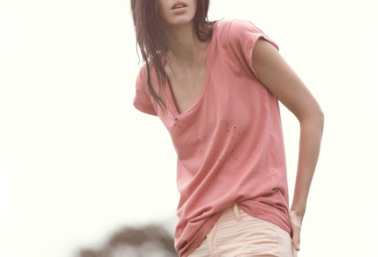 Woman in pink jeans
