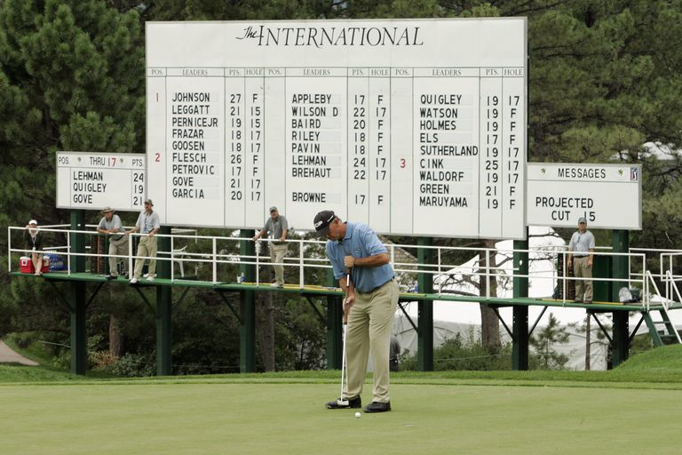 Scoreboard at The International Tournament, a Stableford points event
