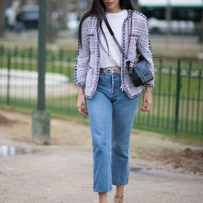 Street style tweed jacket and jeans