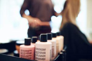Bottles of hair dye in a salon