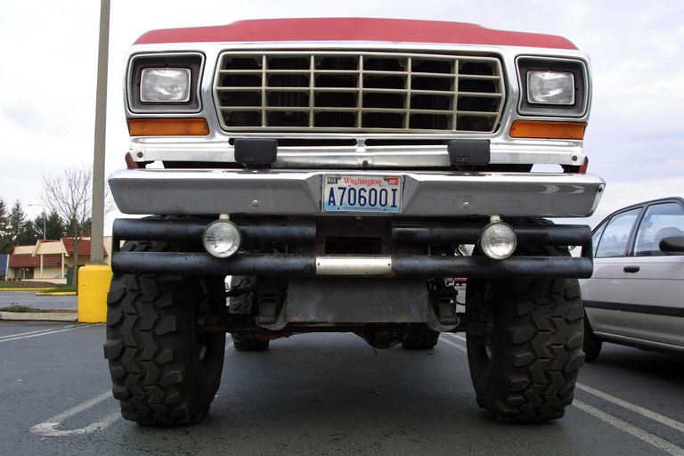 Monster truck in parking lot, low-angle view