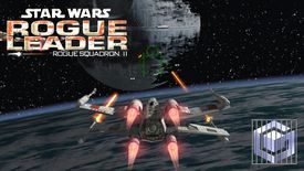 An X-wing approaches the Death Star in Star Wars Rogue Leader Rogue Squadron II for GameCube.