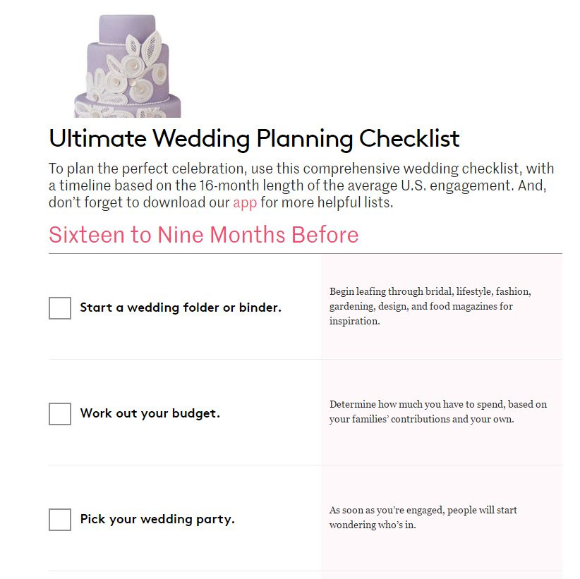 A wedding planning checklist with a cake on top of it