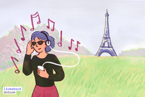 Illustration of a young woman listening to music with the Eiffel Tower in the background