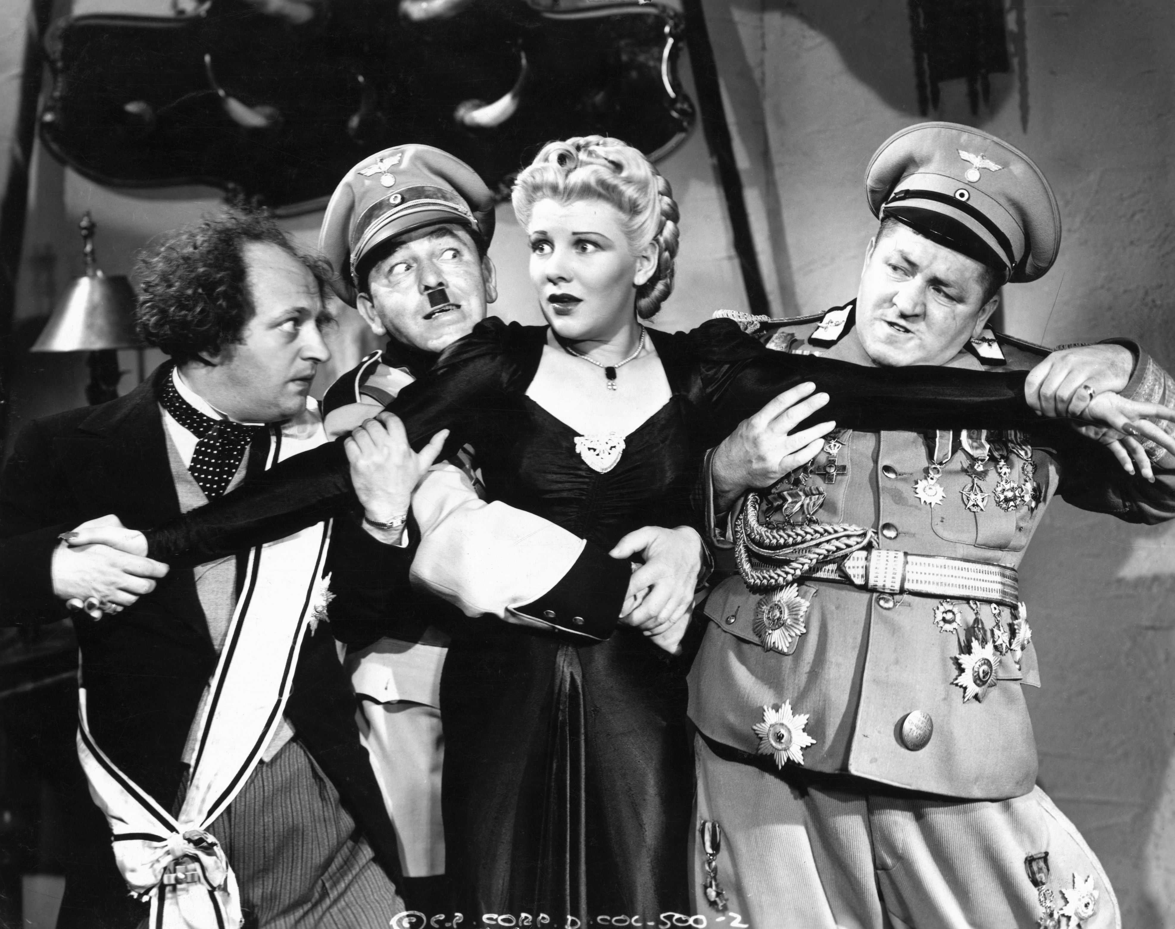 Three Stooges Scene with Actress