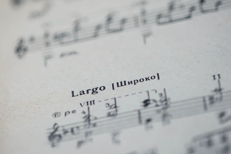 Musical tempo 'Largo' in a music book close up
