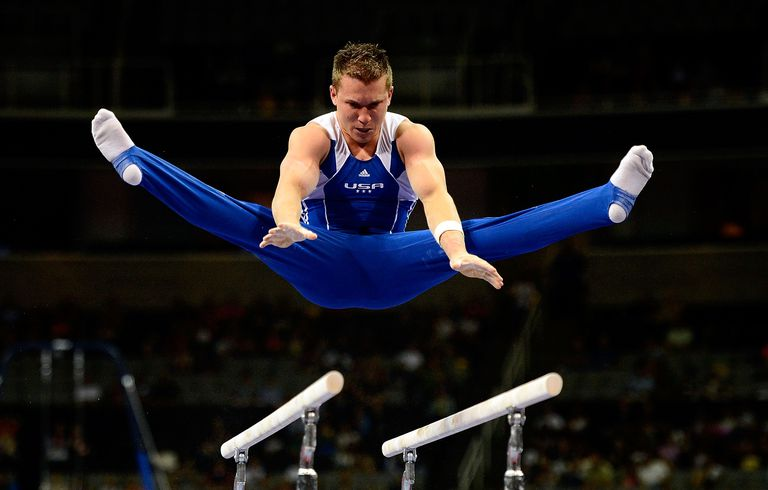 Gymnast Jonathan Horton of the United States performing on the parallel bars