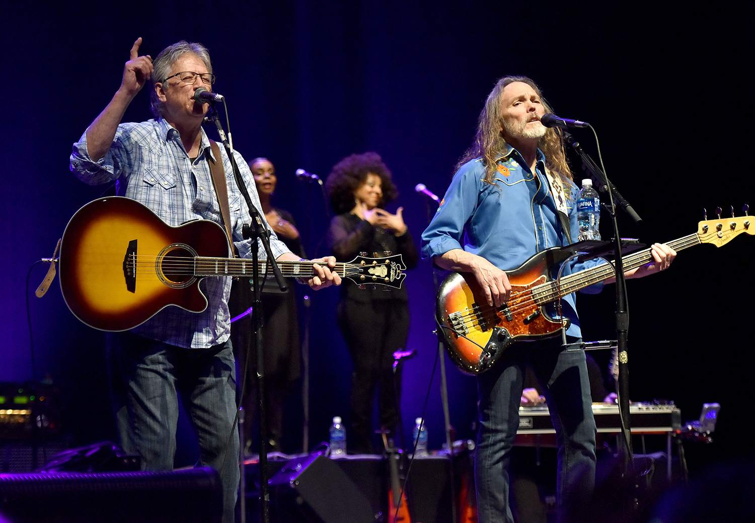 Former Poco members Richie Furay (L) and Timothy B. Schmit