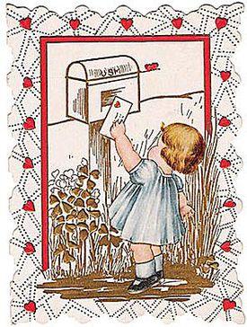 Vintage Valentines Day card. Little Girl Mailing Valentine