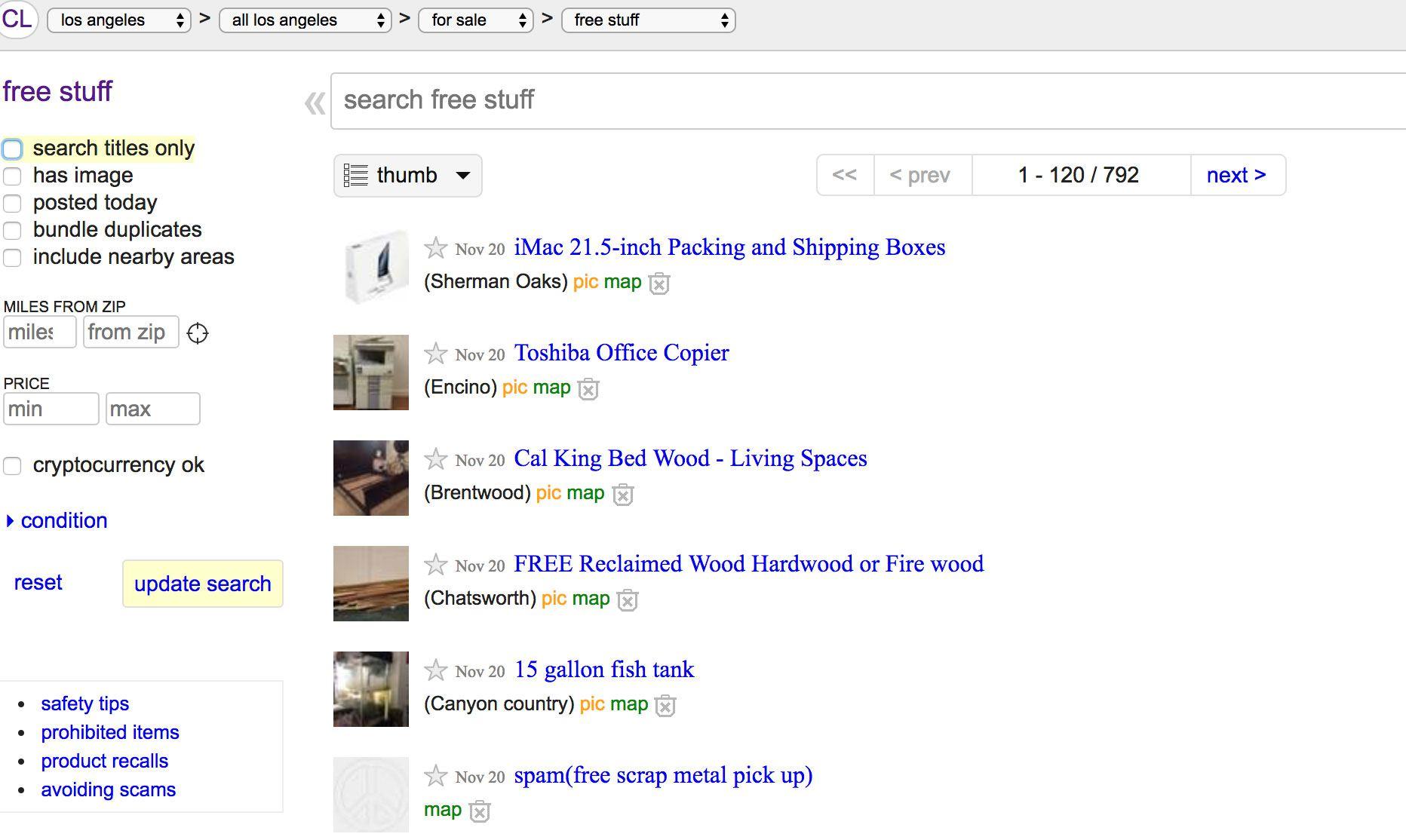 Craigslist list free stuff