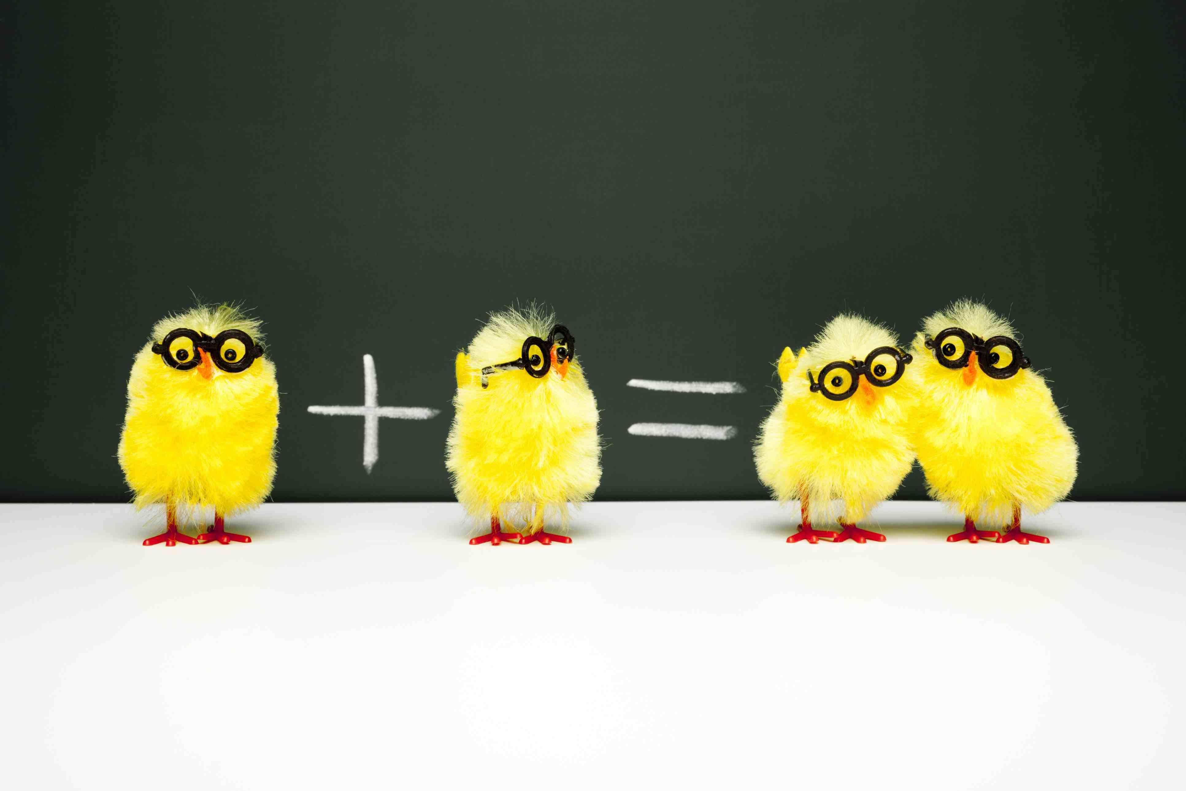 Baby chick math illustration