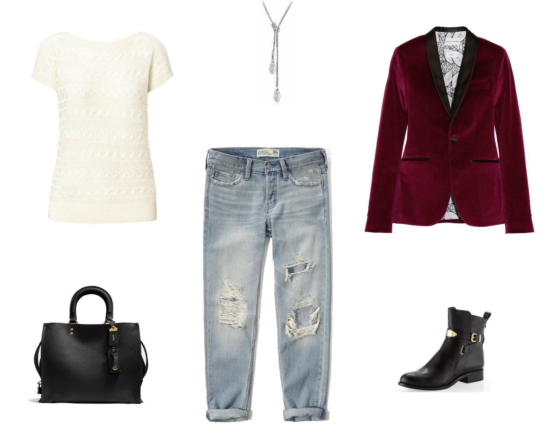 Boyfriend jeans winter date outfit
