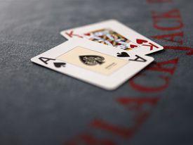 Blackjack cards on table