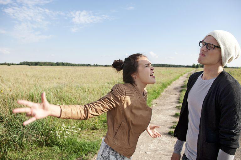 Woman shouting at boyfriend