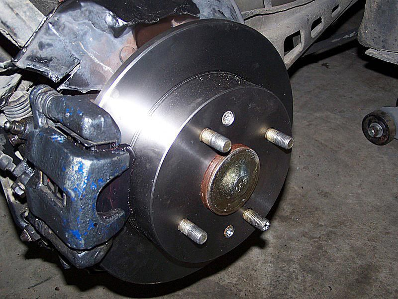 Close up of new brakes.