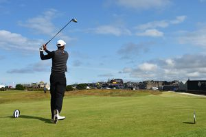 Tiger Woods hits a drive from the teeing ground