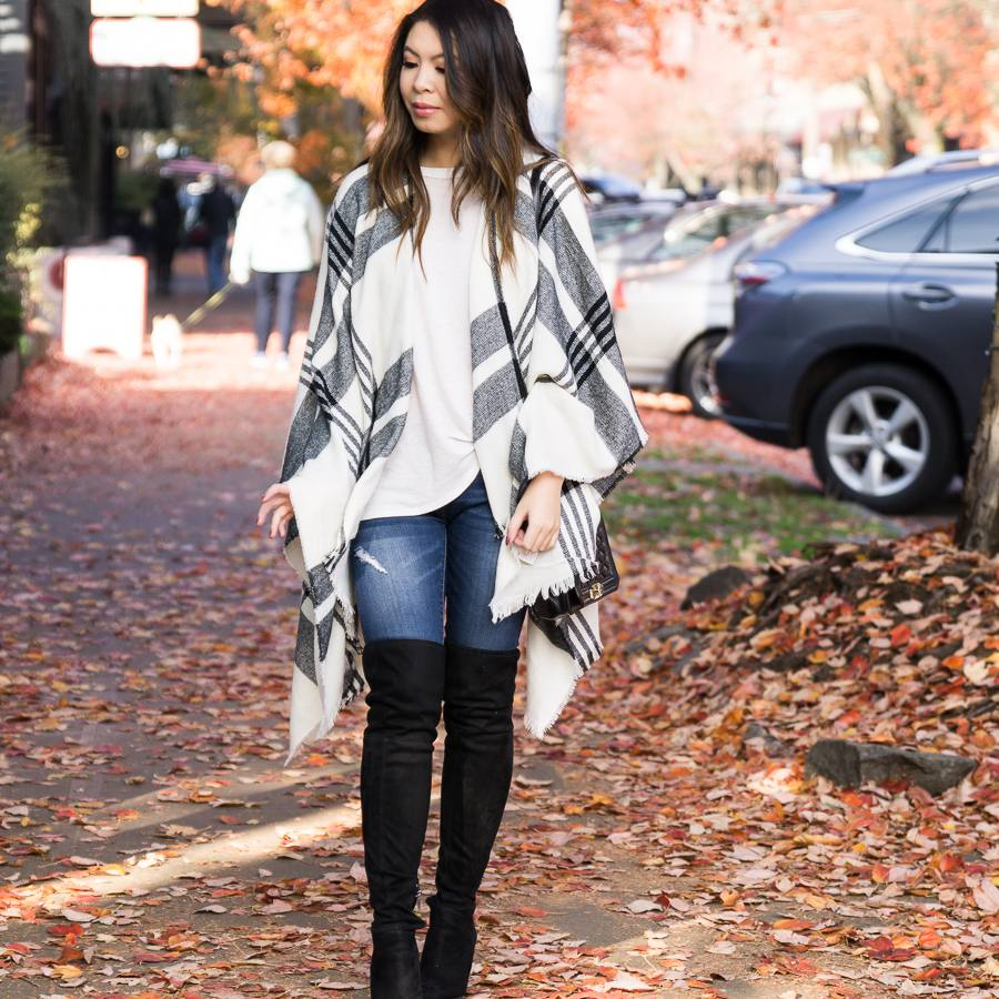 2c23d2196ff0f Cute fall outfit with striped poncho and jeans and tall boots