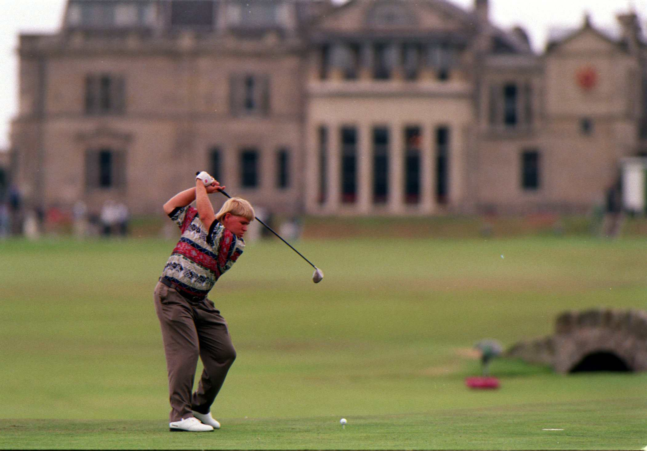 John Daly tees off No. 18 at St. Andrews during the 1995 British Open