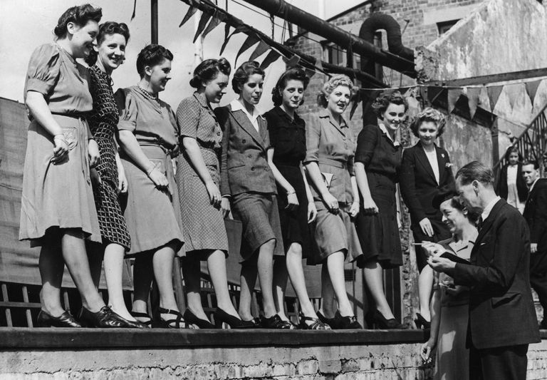 17th August 1943: The ankle judging competition at Selfridges department store's annual sports meeting on the roof of the shop's building in London's Oxford Street.
