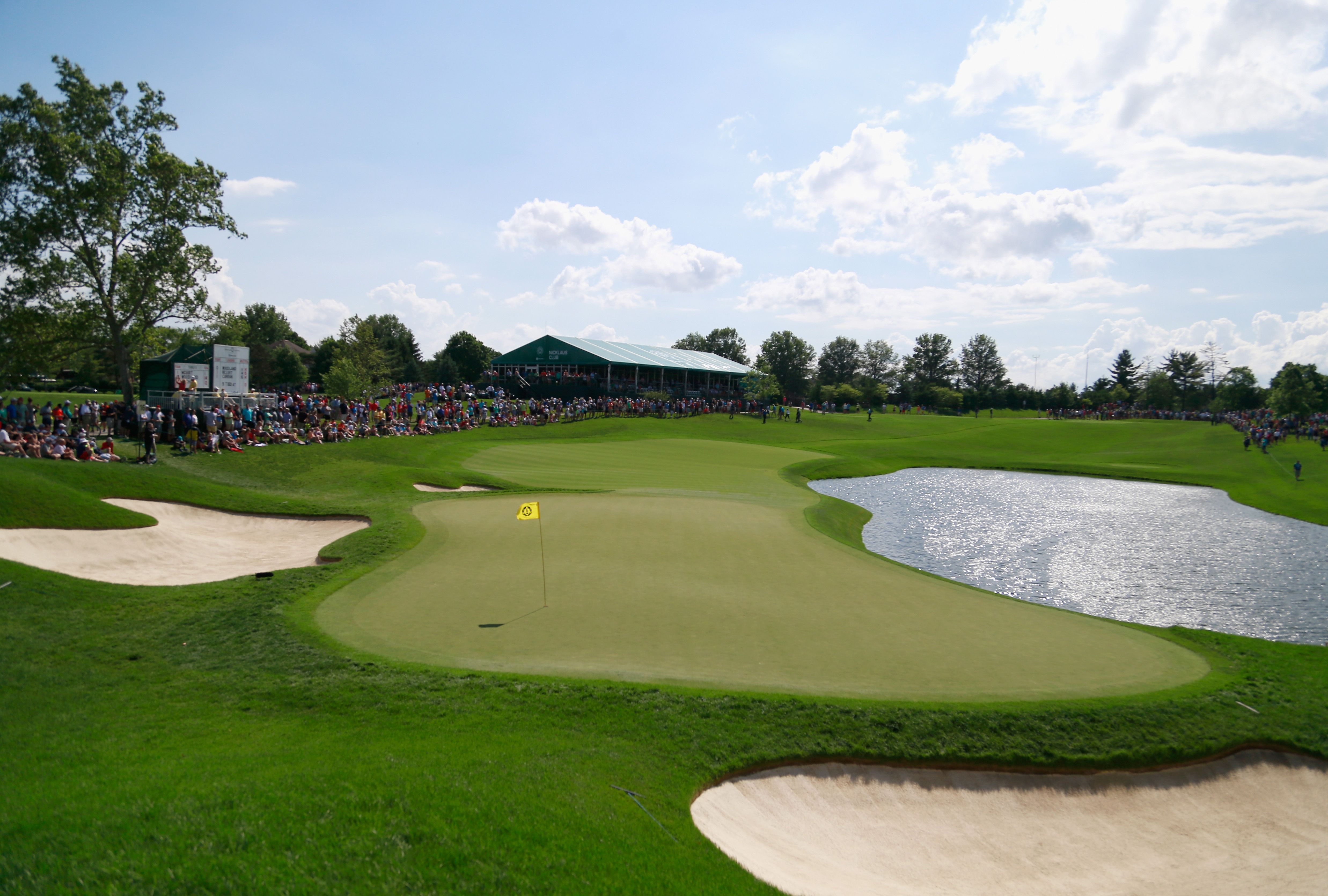 A general view of the 16th green at Muirfield Village Golf Club.