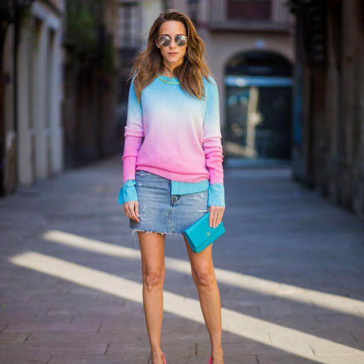 Street style in denim skirt