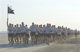 Members of the 412th Test Wing run on Roger's Dry Lakebed during the Installation Fitness Run