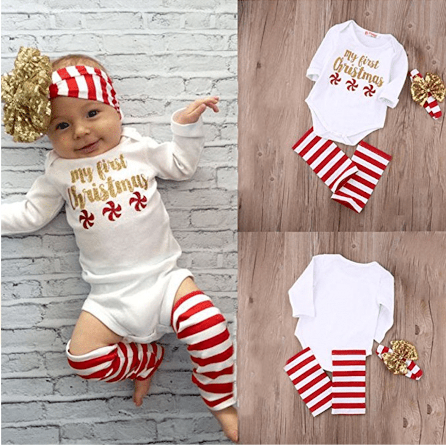 a74b4c48f70f Weixinbuy Newborn Baby Girl My First Christmas Pattern Bodysuit Romper  Jumpsuit Outfit. Amazon.com