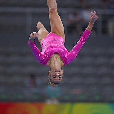 Gymnast Alicia Sacramone (USA) on beam at podium training of the 2008 Olympics