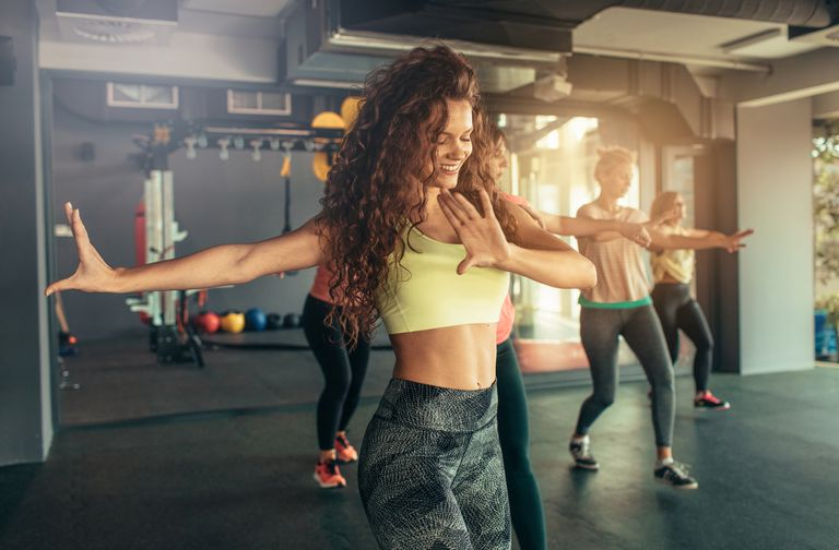 women doing dance fitness together