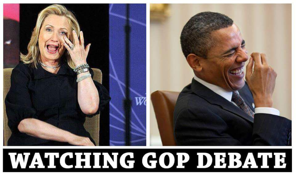 Hillary and Obama Watching the GOP Debate