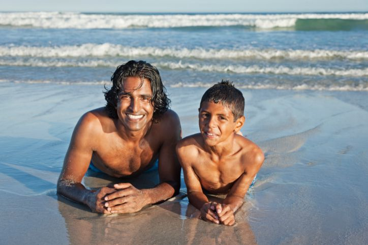 Dad and Son on Beach