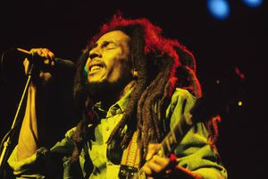 Bob Marley performing live on stage at the Brighton Leisure Centre